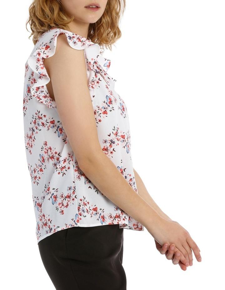 Flutter Sleeve Print Top - Chevron Floral Stripe image 2