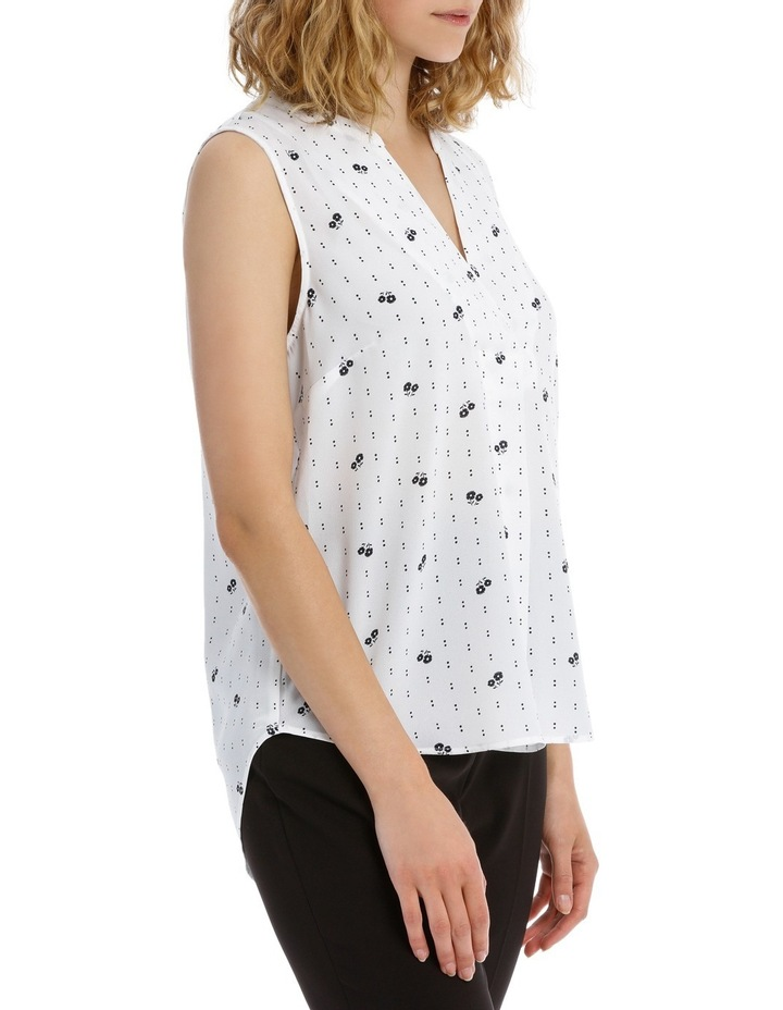 Cross Front Sleeveless Top - Dotted Stripe image 2