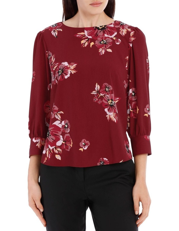 puff sleeve shell top - graphic poppy image 1