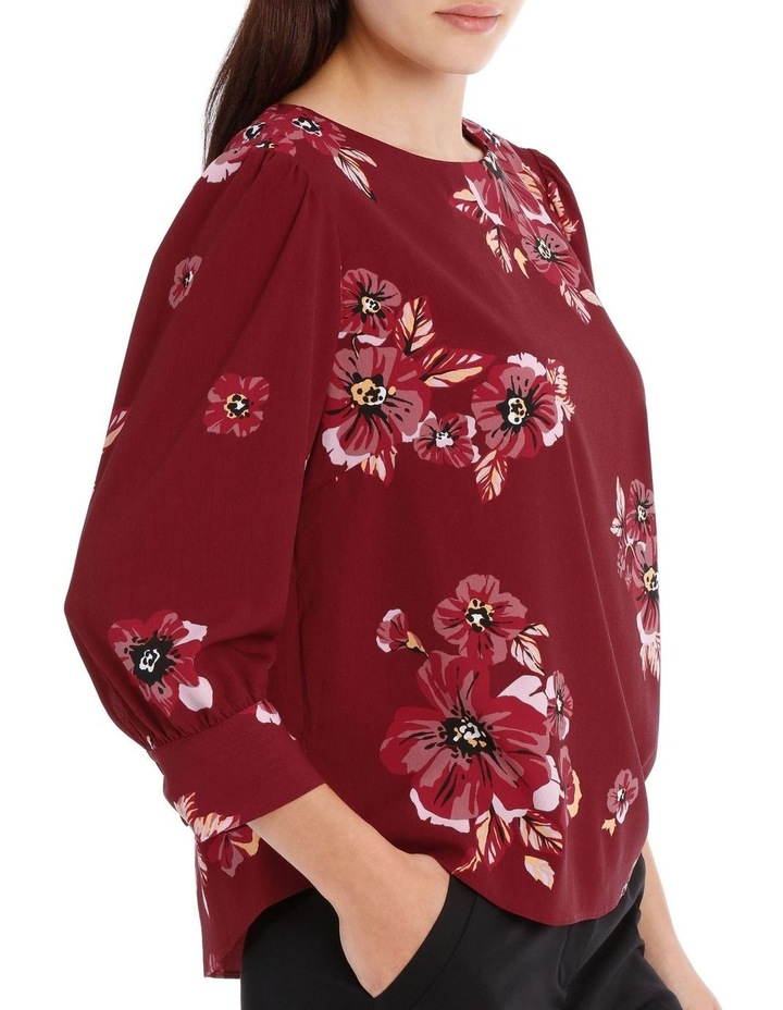 puff sleeve shell top - graphic poppy image 2