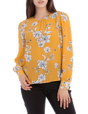 3317be3ab84 Tokito Stencil Floral Volume Sleeve Top