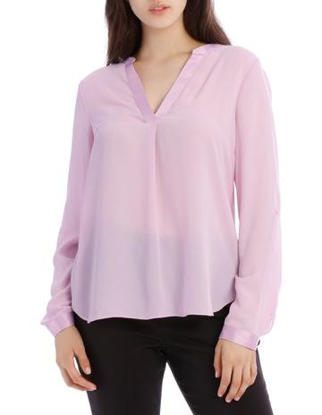 5027842b9ca33 Tokito Satin Trim Roll Cuff Shirt - Lilac