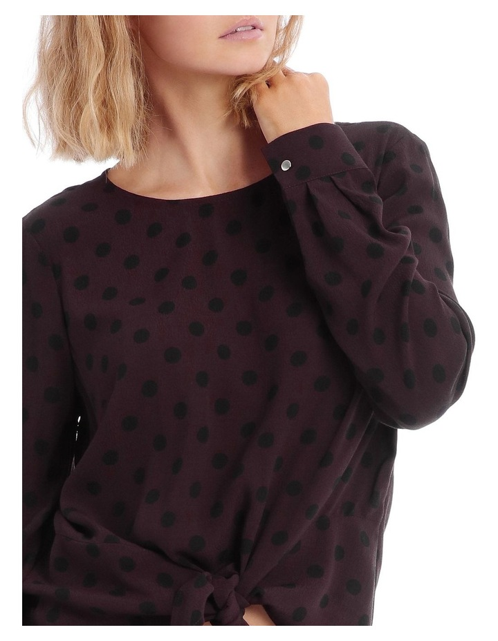 Spotted Print Tie Front Top image 4