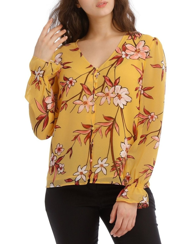 Painted Floral Button Up Sheer Sleeve Blouse image 1