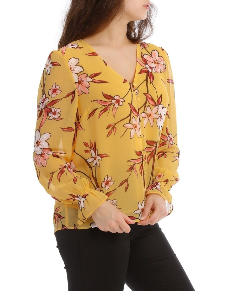 Painted Floral Button Up Sheer Sleeve Blouse image 2
