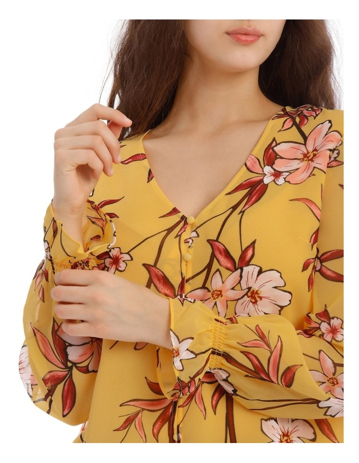 Painted Floral Button Up Sheer Sleeve Blouse image 4