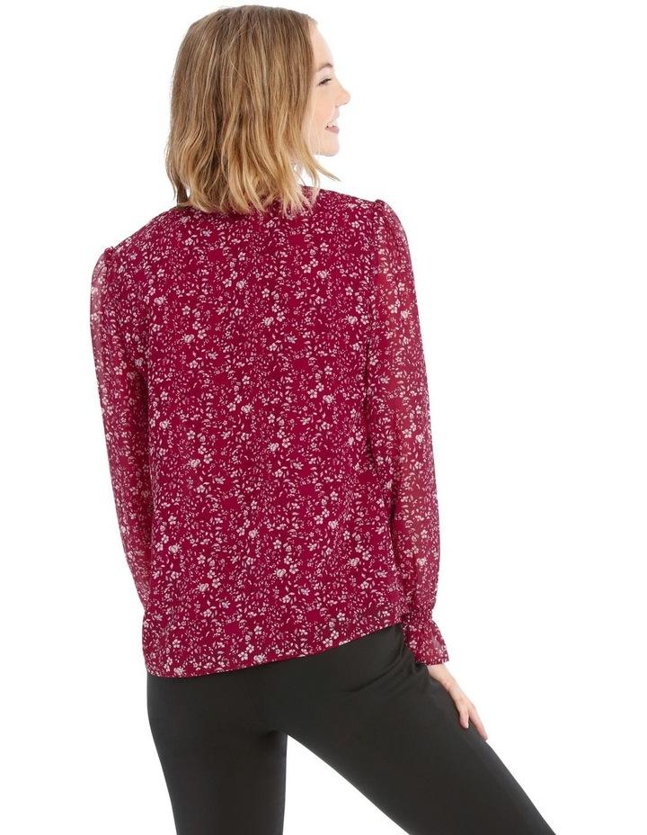 Button Up Sheer Sleeve Blouse - Vine Floral image 3