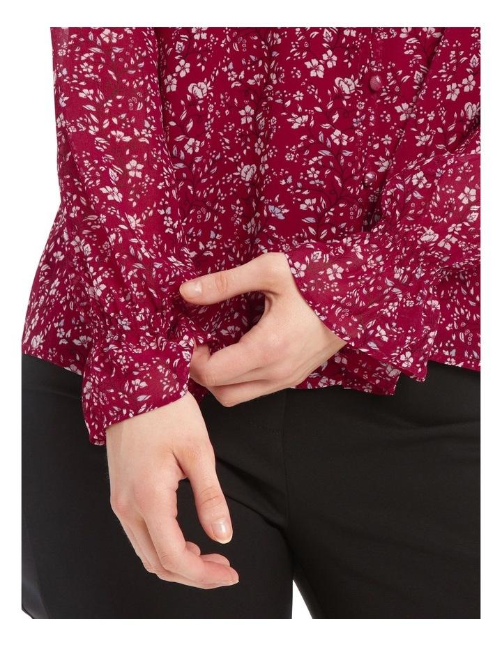 Button Up Sheer Sleeve Blouse - Vine Floral image 4