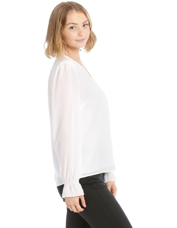 Button Up Sheer Sleeve Blouse - White image 2