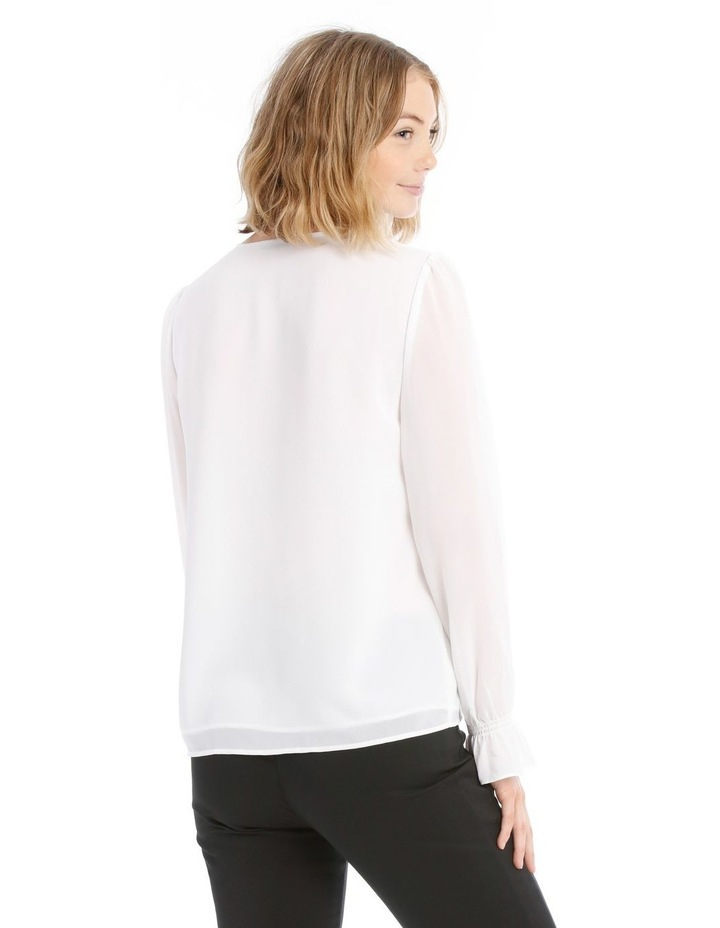 Button Up Sheer Sleeve Blouse - White image 3