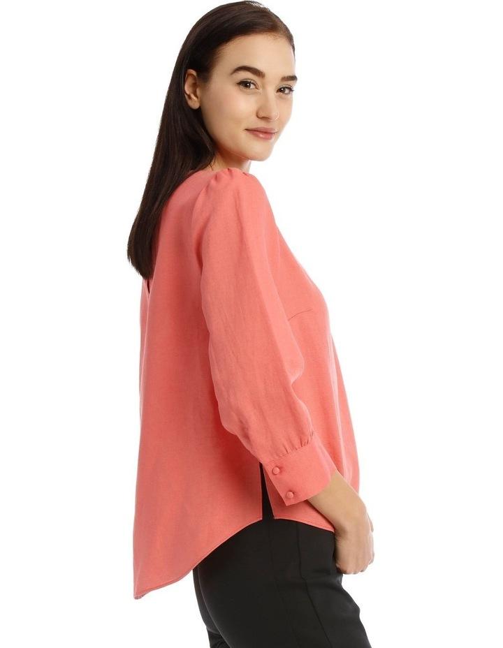 Linen Puff Sleeve Top - Peach image 2