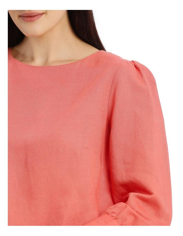 Linen Puff Sleeve Top - Peach image 4