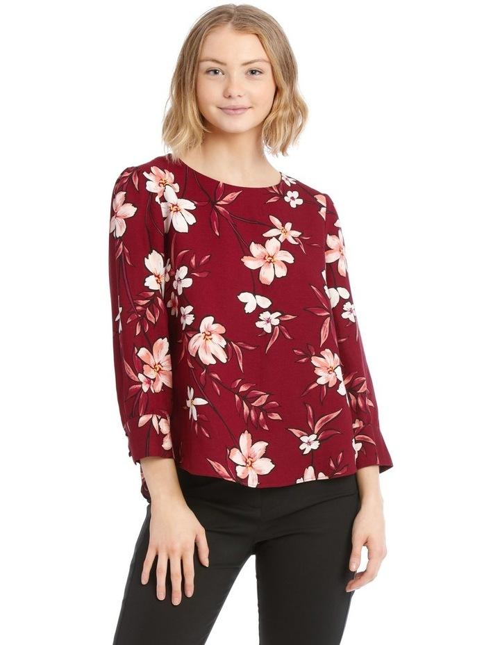 Linen Puff Sleeve Top - Painted Floral image 1