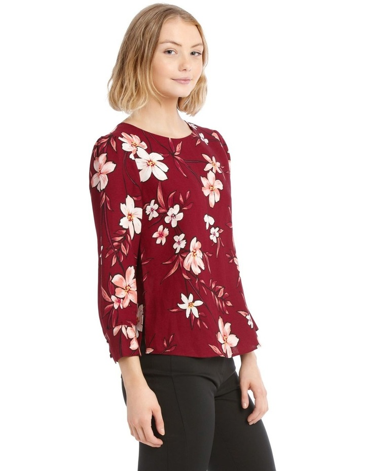 Linen Puff Sleeve Top - Painted Floral image 2