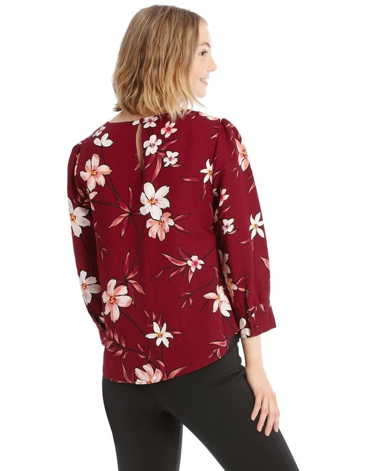Linen Puff Sleeve Top - Painted Floral image 3