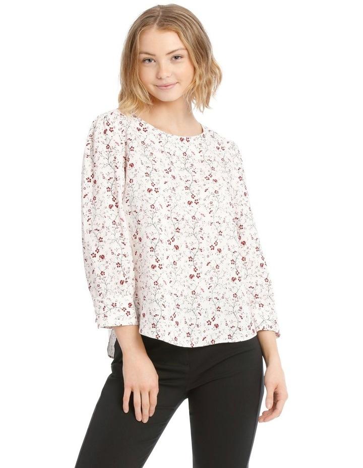 Linen Puff Sleeve Top - Vine Floral image 1