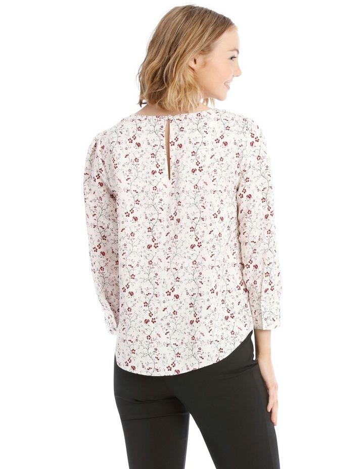 Linen Puff Sleeve Top - Vine Floral image 3