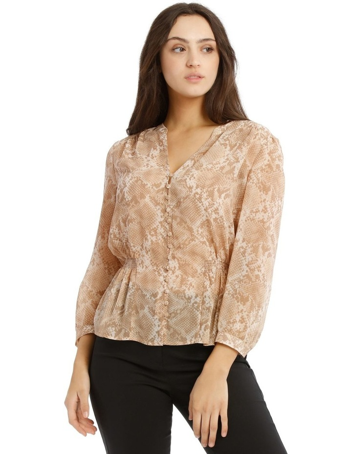 Shirred Waist Button Up Blouse image 1