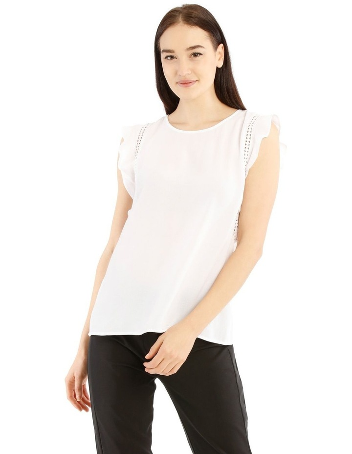 White Lace Insert Flutter Sleeve Top image 1