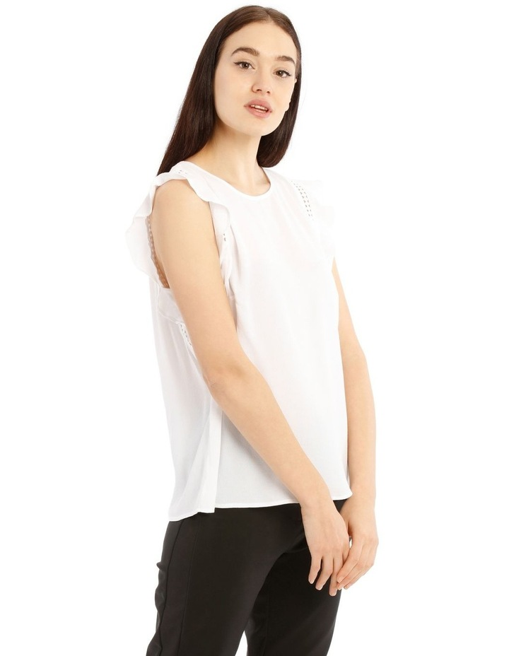 White Lace Insert Flutter Sleeve Top image 2