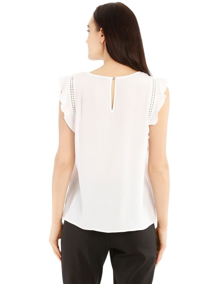 White Lace Insert Flutter Sleeve Top image 3