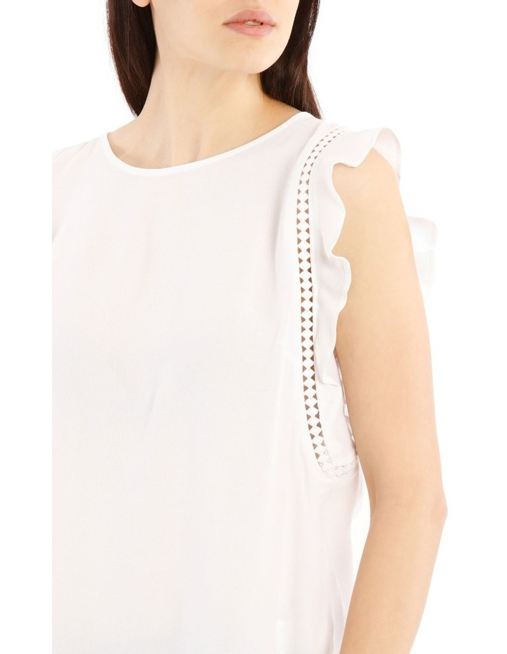 White Lace Insert Flutter Sleeve Top image 4