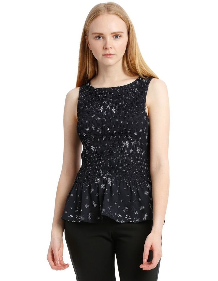 Spliced Ditsy Shirred Tank Top image 1