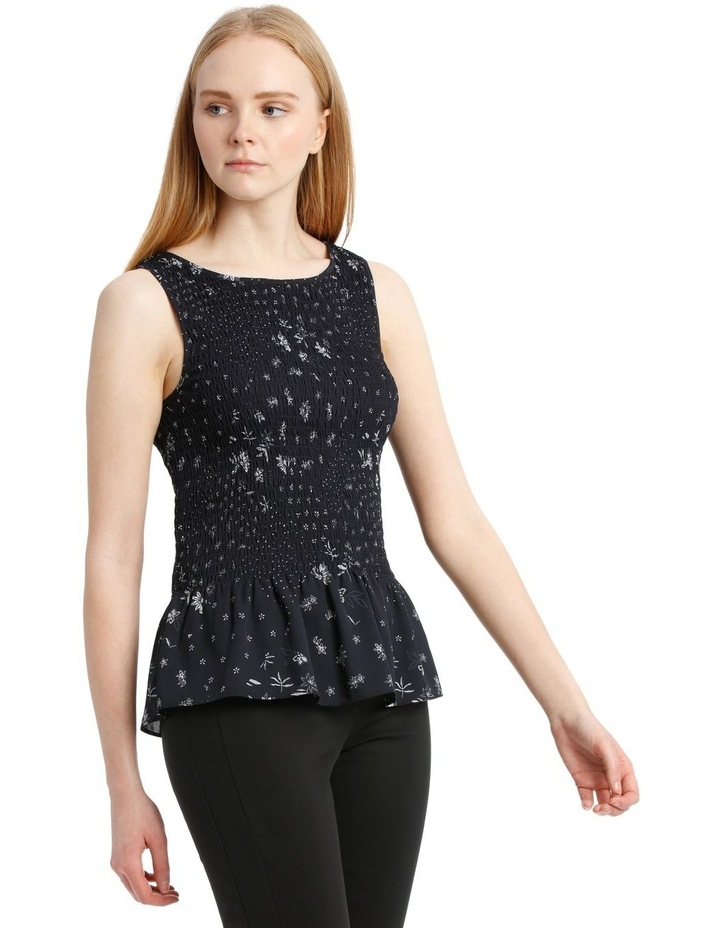 Spliced Ditsy Shirred Tank Top image 2