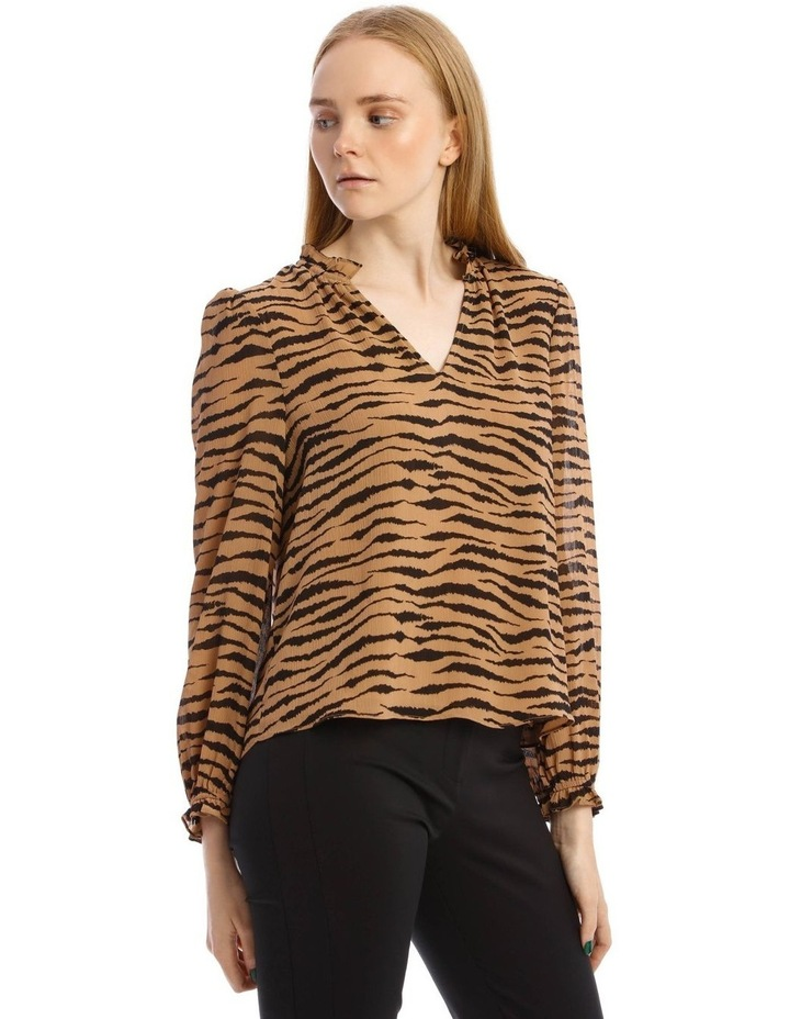 Frill Long Sleeve Vee Neck Top image 2