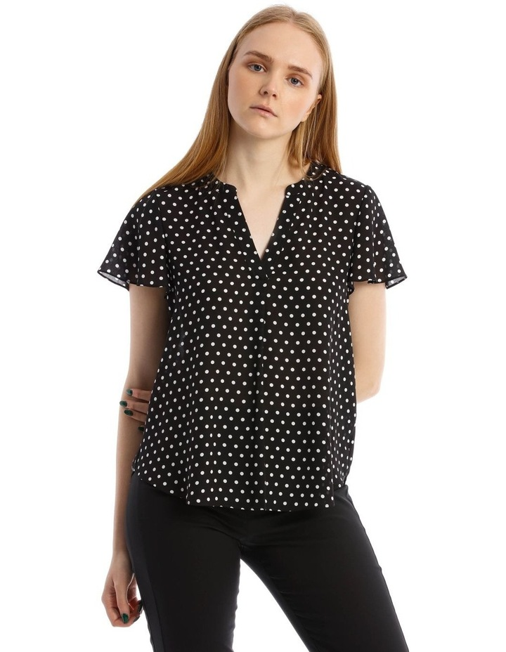 Flutter Sleeve Top With White Polkadots image 1