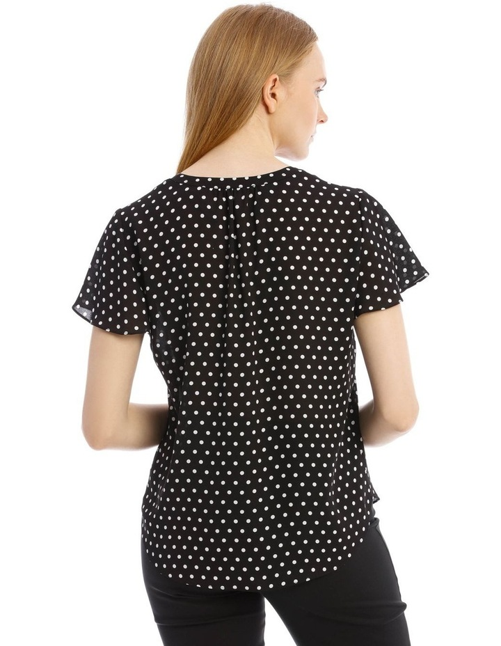 Flutter Sleeve Top With White Polkadots image 3