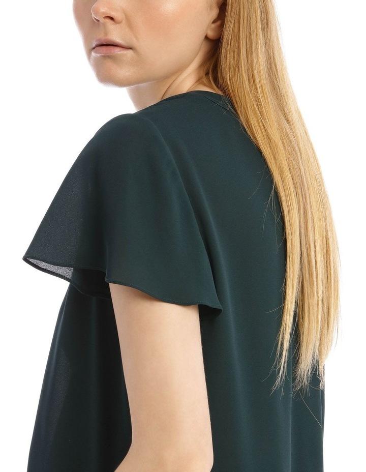 Flutter Sleeve Top In Pine Green image 4