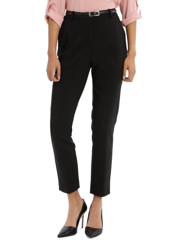 straight leg belted pant - black image 1