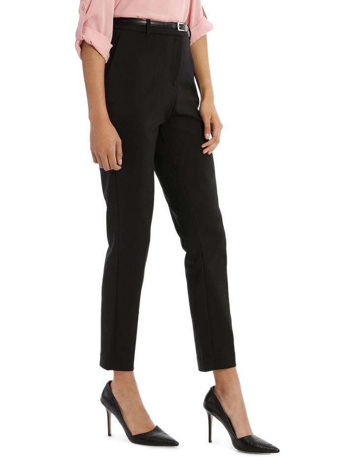 straight leg belted pant - black image 2