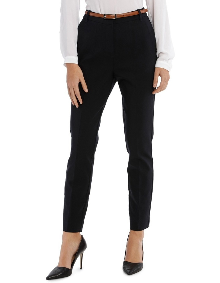 Straight Leg Belted Pant - Navy image 1