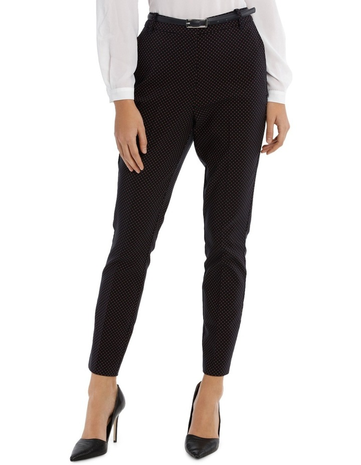 Straight Leg Belted Pant - Red Micro Spot image 1