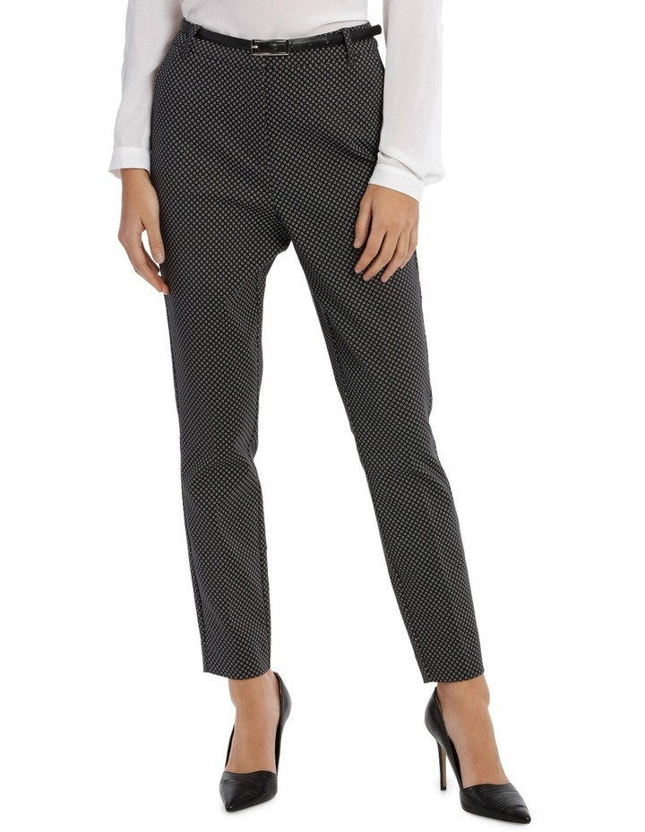 Straight Leg Belted Pant - Charcoal Circles image 1