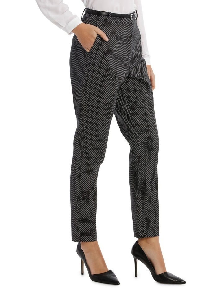Straight Leg Belted Pant - Charcoal Circles image 2