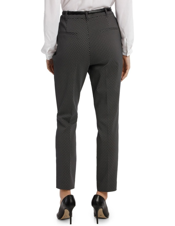 Straight Leg Belted Pant - Charcoal Circles image 3