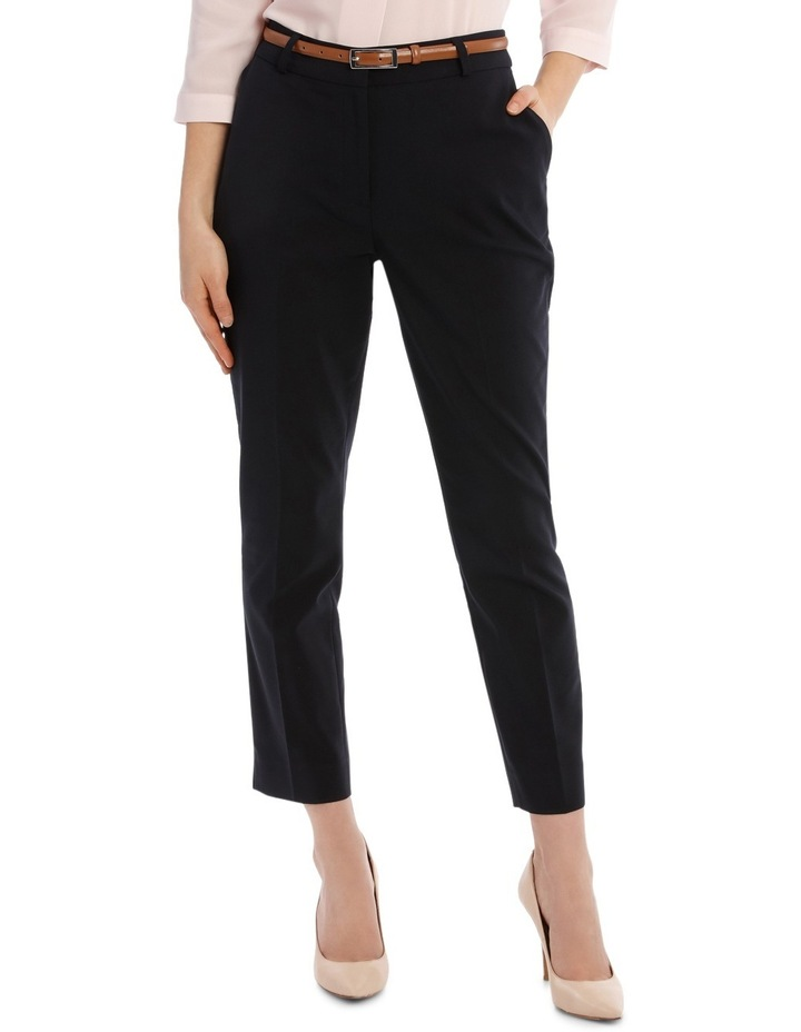 Cropped Belted Pant - Navy image 1