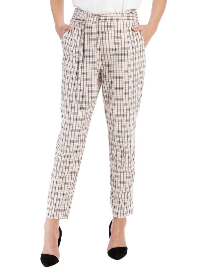 Tapered Checked Tie Waist Pant image 1
