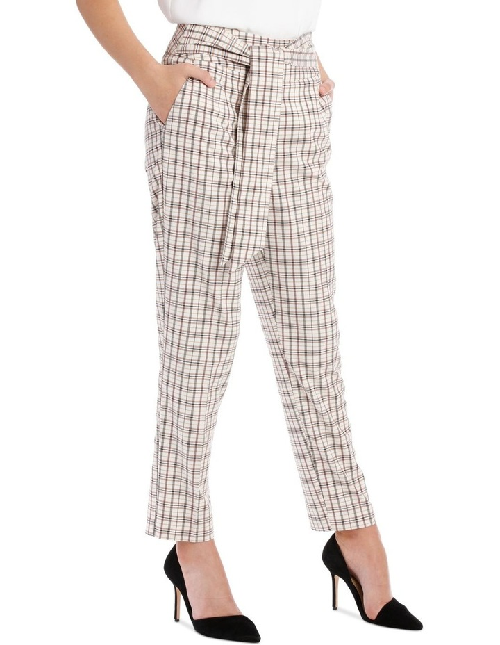 Tapered Checked Tie Waist Pant image 2