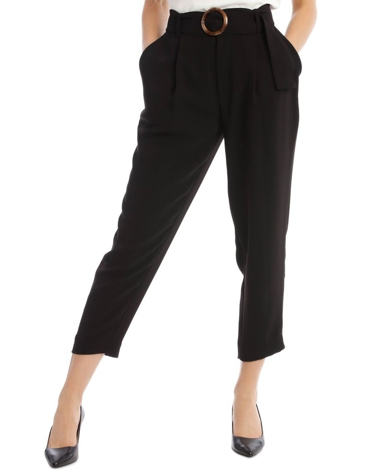 Tapered Pant With Tortoise Belt Buckle image 1