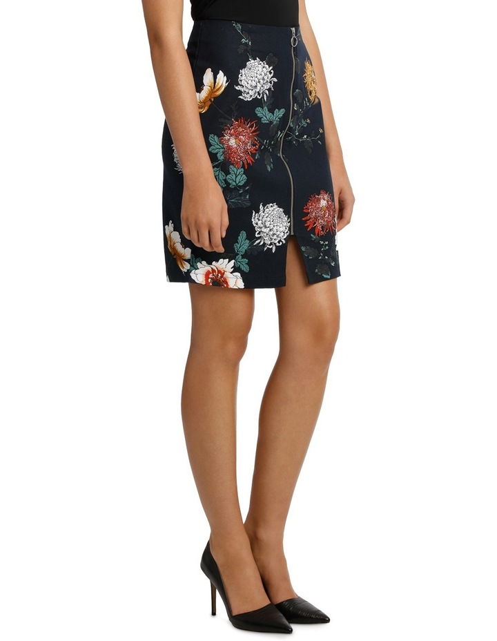 Zip Front Textured Pencil Skirt - Imperial Floral image 2
