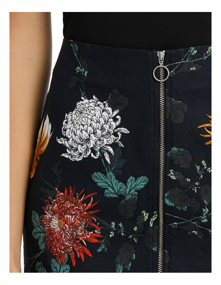 Zip Front Textured Pencil Skirt - Imperial Floral image 4
