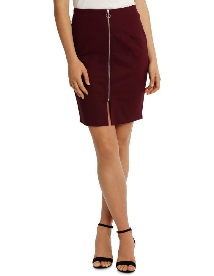 Zip Front Textured Pencil Skirt - Burgundy image 1
