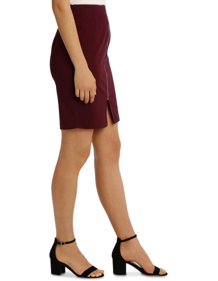 Zip Front Textured Pencil Skirt - Burgundy image 2