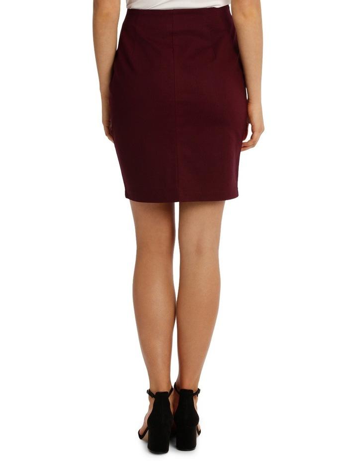 Zip Front Textured Pencil Skirt - Burgundy image 3