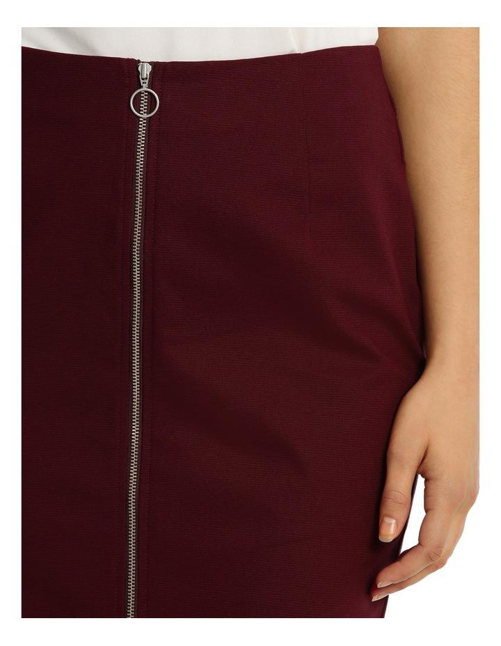 Zip Front Textured Pencil Skirt - Burgundy image 4