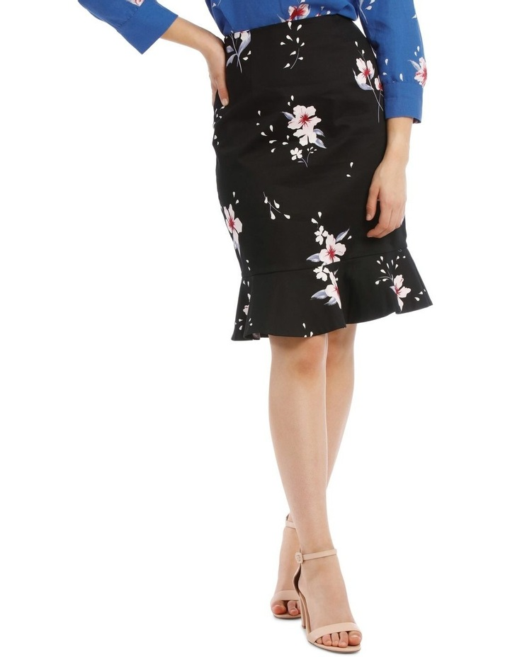 Large Bloom Frill Hem Pencil Skirt image 1